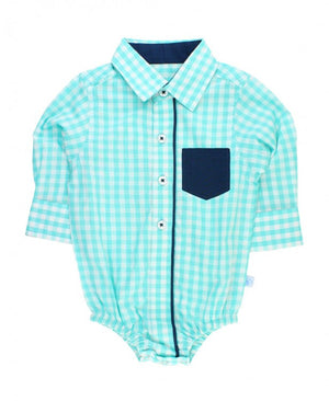 Seafoam Gingham Button-Up Bodysuit