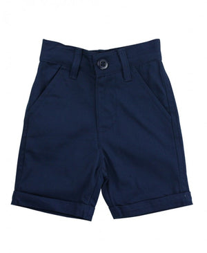 Navy Cuffed Chino Shorts