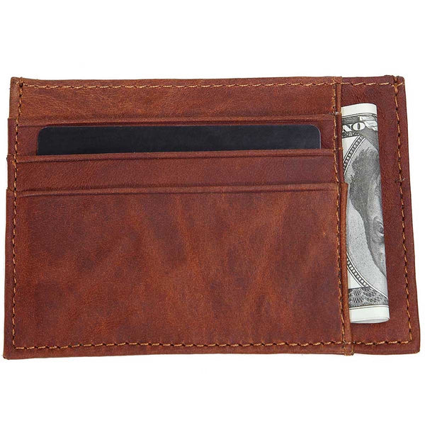 3 FOLD MONEY CLIP WALLET-(Brown)