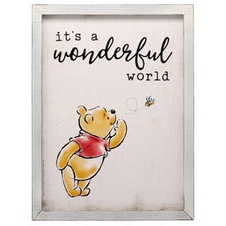 "Winnie the Pooh ""WONDERFUL WORLD"" framed art 12x16"