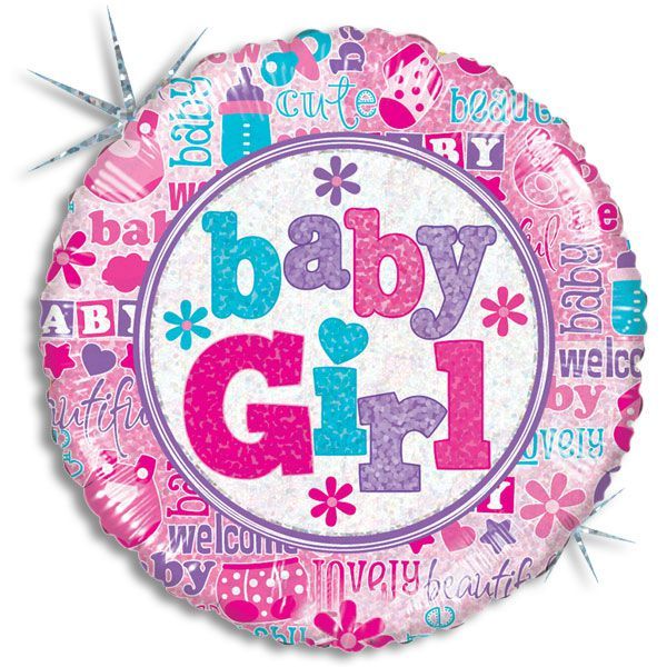 "18"" BABY GIRL HOLOGRAPHIC BALLOON"