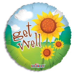 """Get Well "" Bright sunflowers balloon"