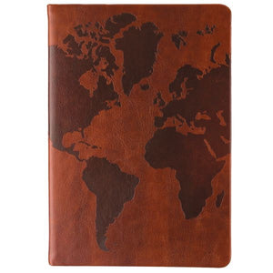 Spiral Journal 6x8 Burgundy/Leather World Map (Lined)