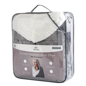 Hooded Weighted Velvet Throw w/sherpa (10 lbs)