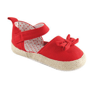 Girls Bow Red Espadrille Sandal
