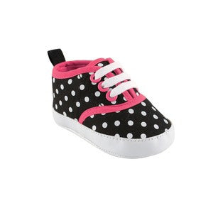 Colorful Canvas Sneaker, Black with White Polka Dots