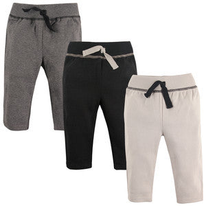 3-Pack Black and Gray Cotton Track Pants