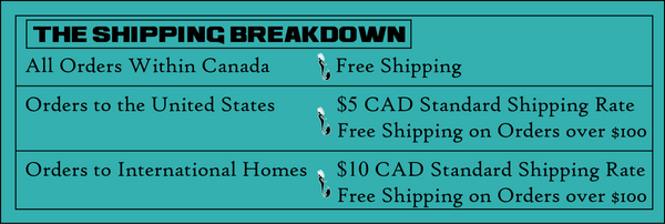 Shipping Breakdown - Canada Free Shipping - USA $5 Rate - International $10 Rate