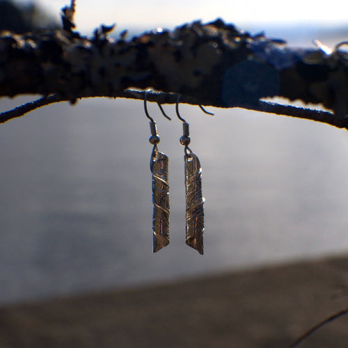 Carved Sterling Silver Barrel Earrings