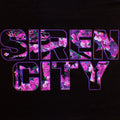 Close Up of Siren City text floral print from back