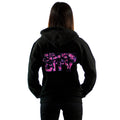 Black Hoodie back with Siren City floral screenprint across back womens