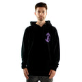 Black Hoodie front with Siren and Japanese Kanji over heart mens