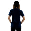 Floral Print on a Dark Navy Soft T-Shirt Woman's Rear