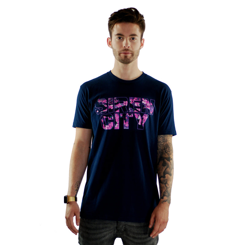 Floral Print on a Dark Navy Soft T-Shirt Men's Front