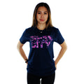 Floral Print on a Dark Navy Soft T-Shirt Women Model Front