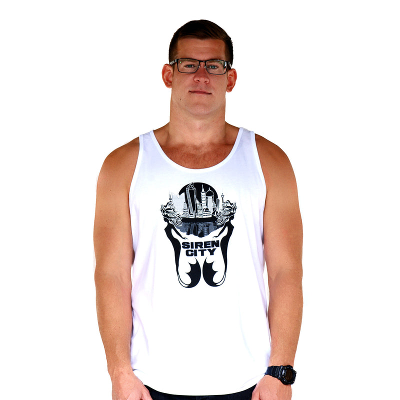 City Emblem White Tank Front Men's