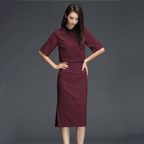 Classy Two Piece Formal Red Wine Striped Women Office Suits Top