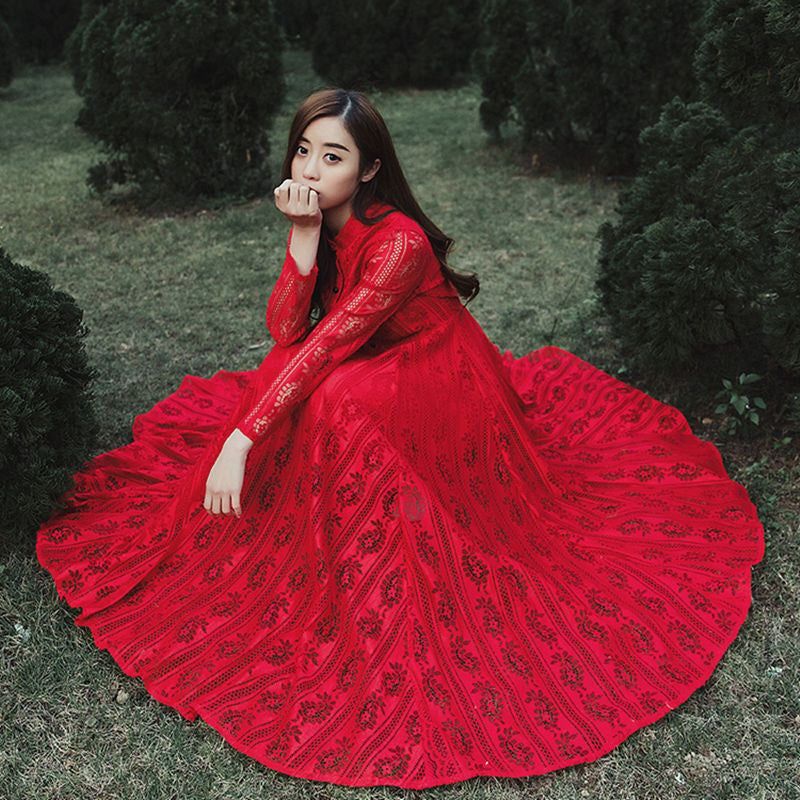 Classy - Vintage Red Long Sleeve Lace Long Dress – ClassyDS