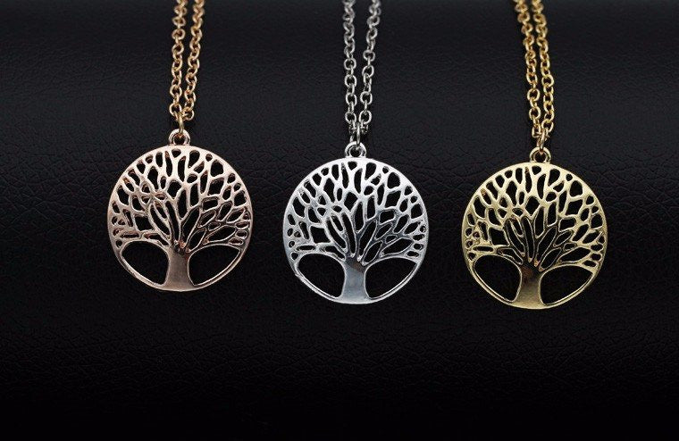 High Quality Tree of Life Pendant Necklace Silver Gold Rose