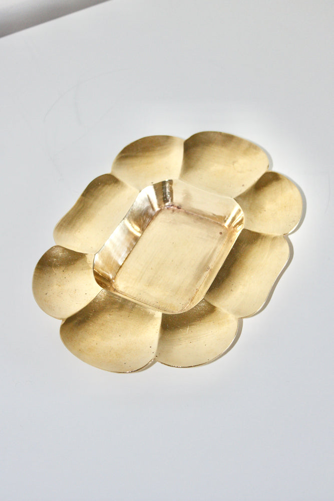 Scalloped Brass Catchall Bowl