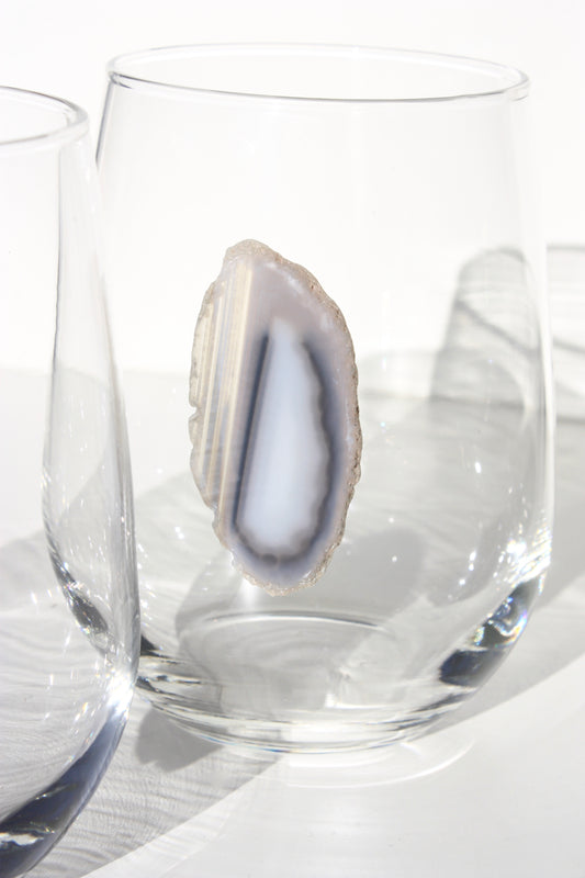 Gray / Black Stemless Agate Wine Glass 17 oz
