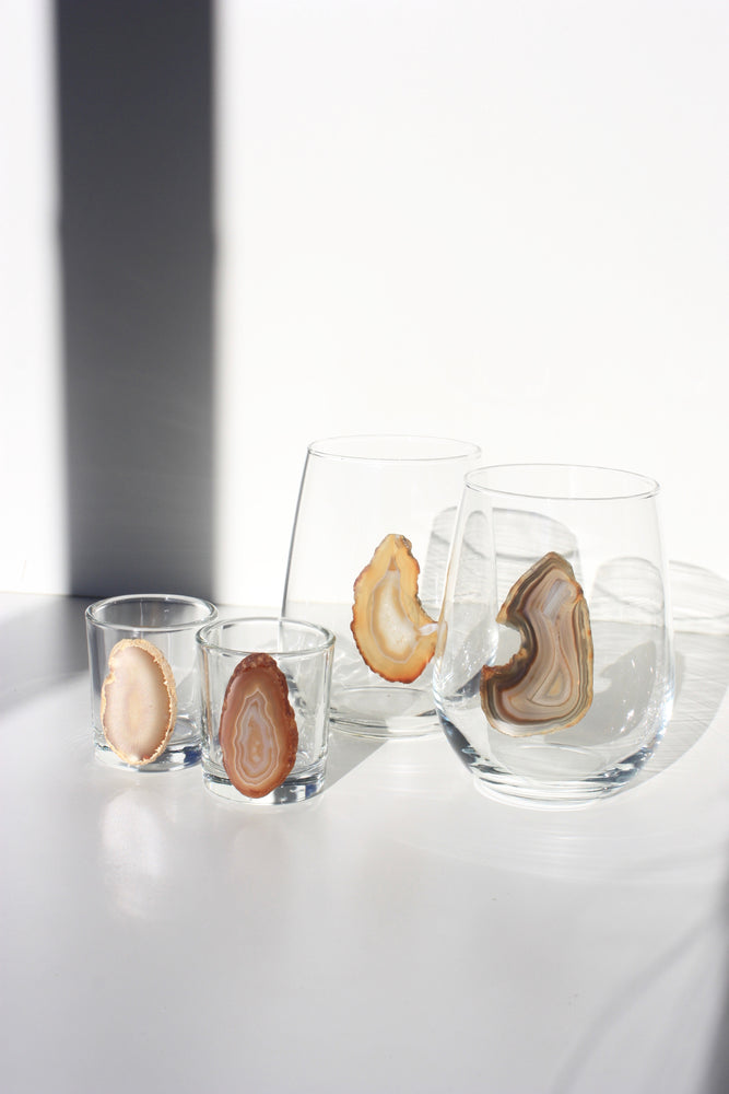 Natural Stemless Agate Wine Glass 17 oz