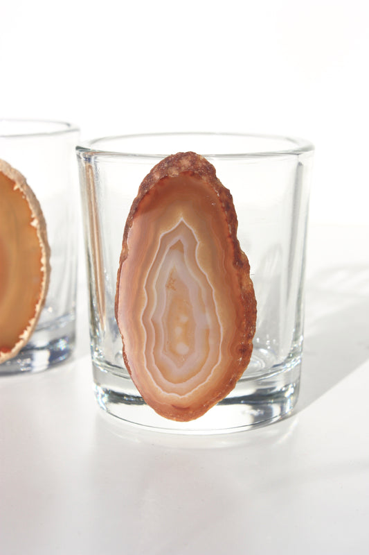 Natural Agate Slice Shot Glass Set