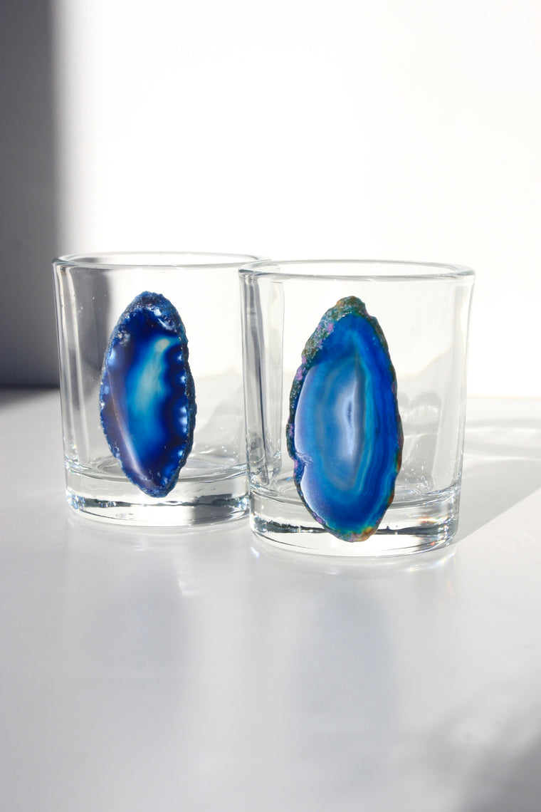 Blue Agate Slice Shot Glass Set