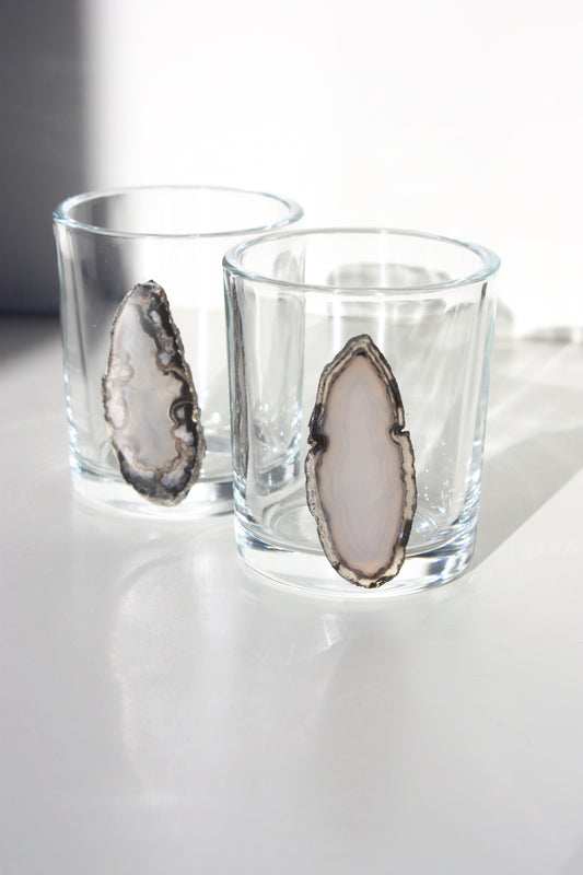 Gray / Black Agate Slice Shot Glass Set