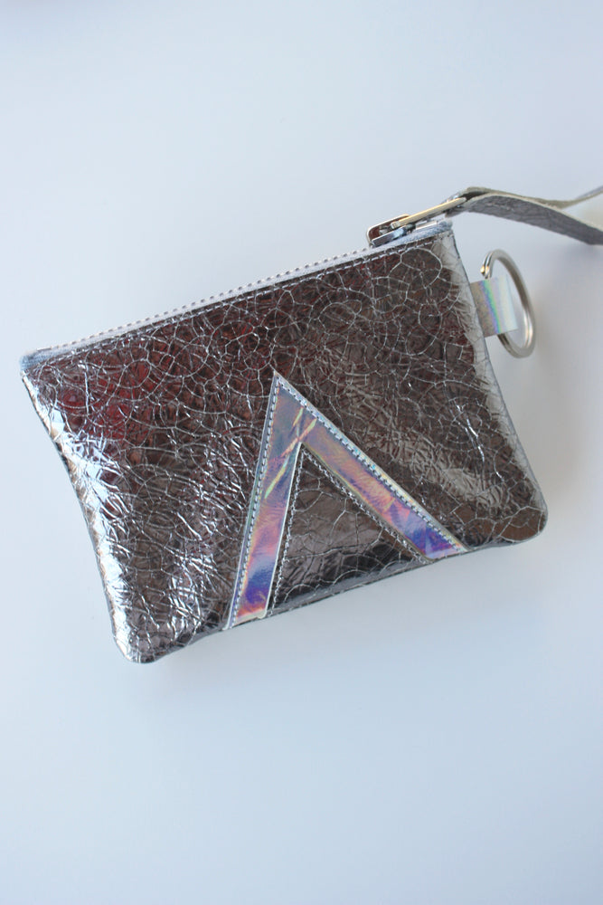 Gunmetal Holographic Leather Keychain Pouch