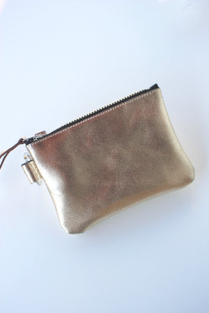 Bronze Gold Leather Keychain Pouch