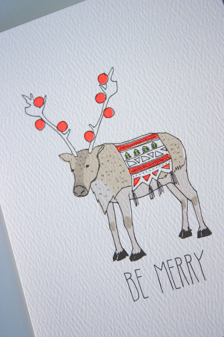 Be Merry Reindeer Card