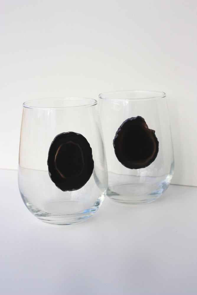 Black Stemless Agate Wine Glass 17 oz
