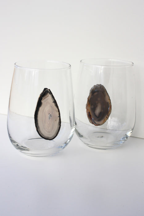 Gray / Black Natural Stemless Agate Wine Glass 17 oz
