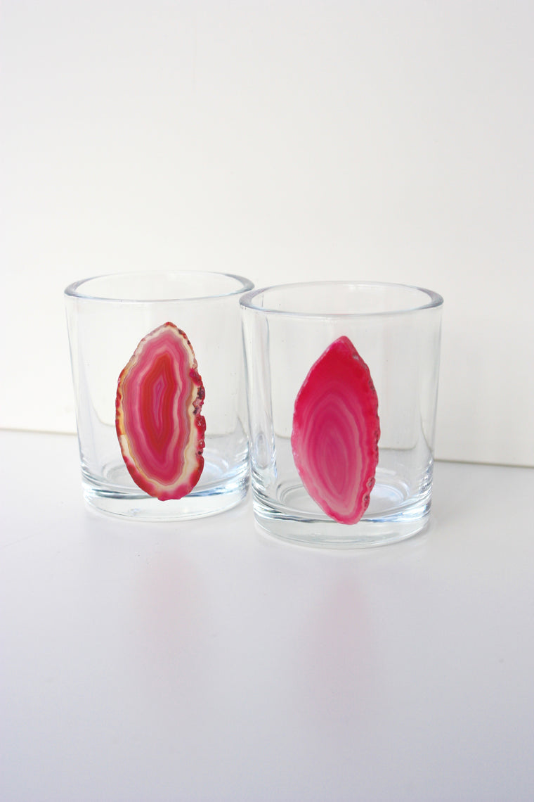 Pink Agate Slice Shot Glass Set