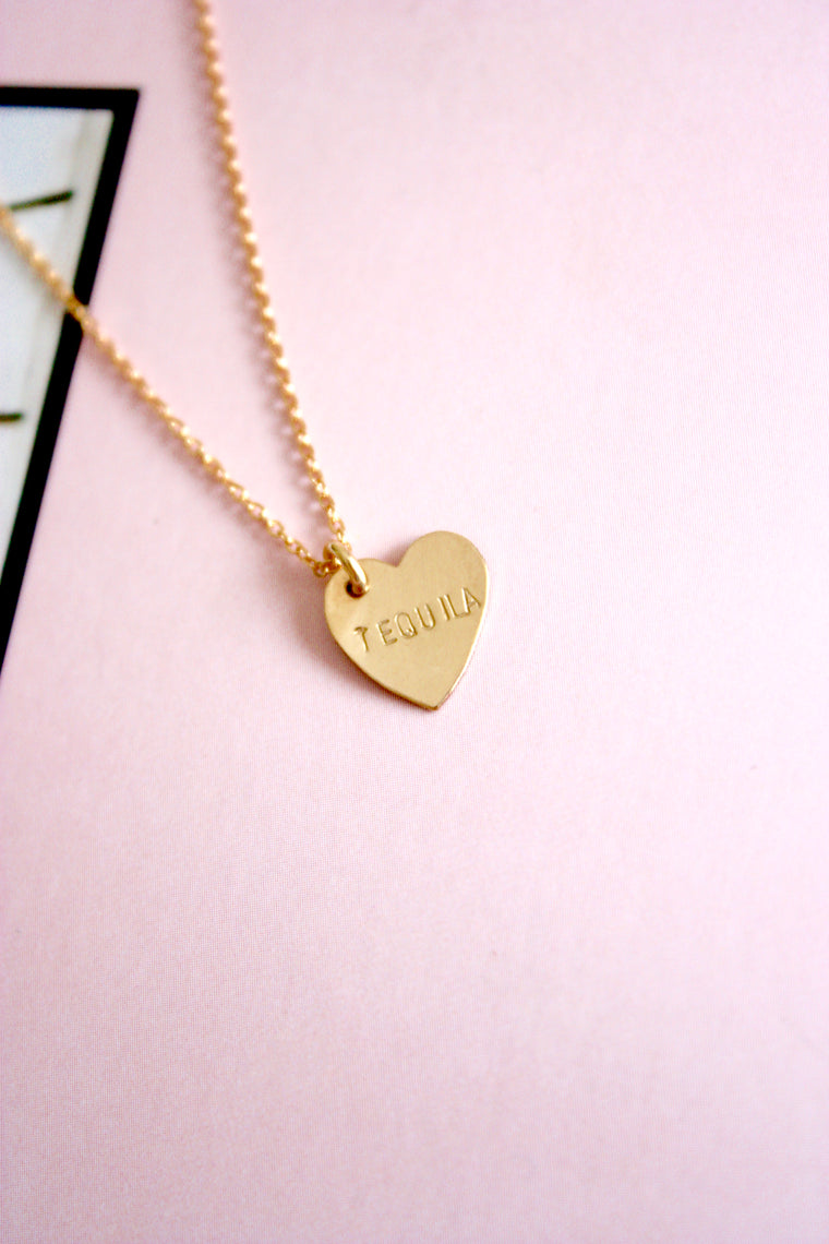 Tequila Mini Heart Charm Necklace