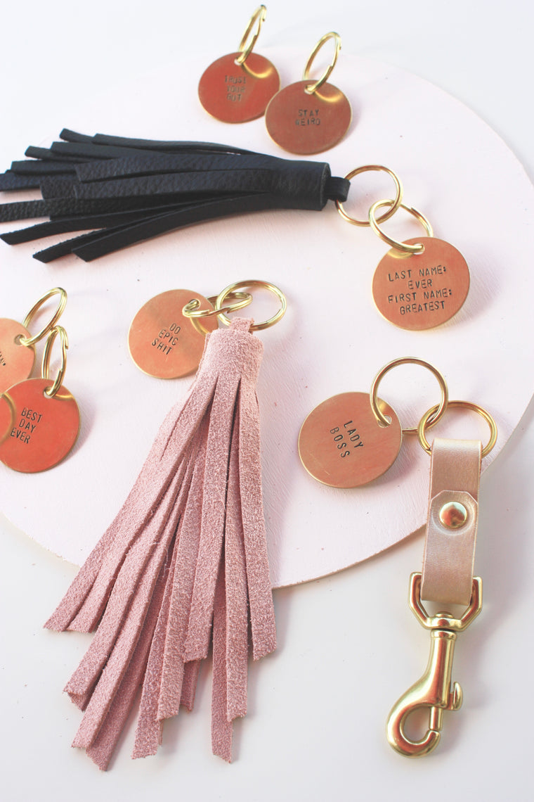 Hand Stamped Keychain Tag