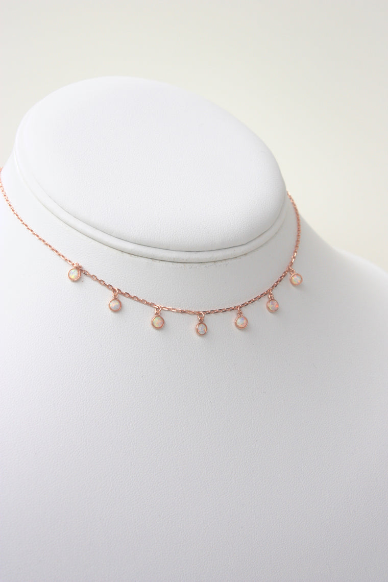 Rose Gold Sterling Opal Choker
