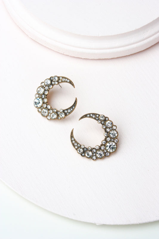 Crystal Encrusted Moon Stud
