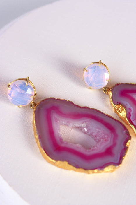 Pink Geode Statement Earring