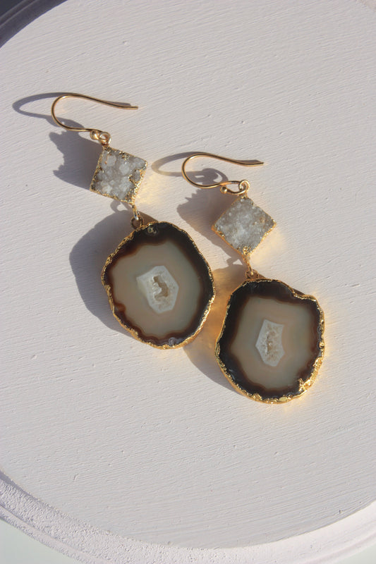 Natural Geode Chanelier Earring