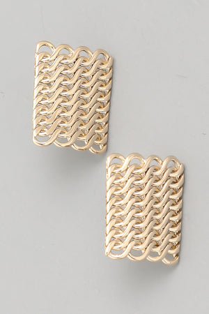 Load image into Gallery viewer, Square Chain Link Stud Earring