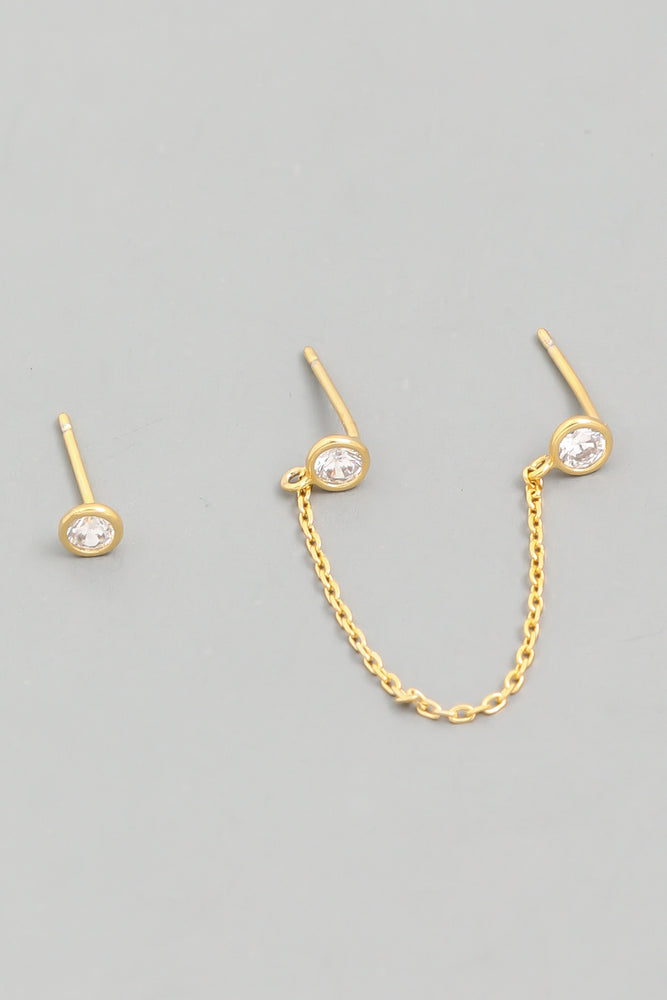 Load image into Gallery viewer, Chain Stud 3 Piece Earring Set