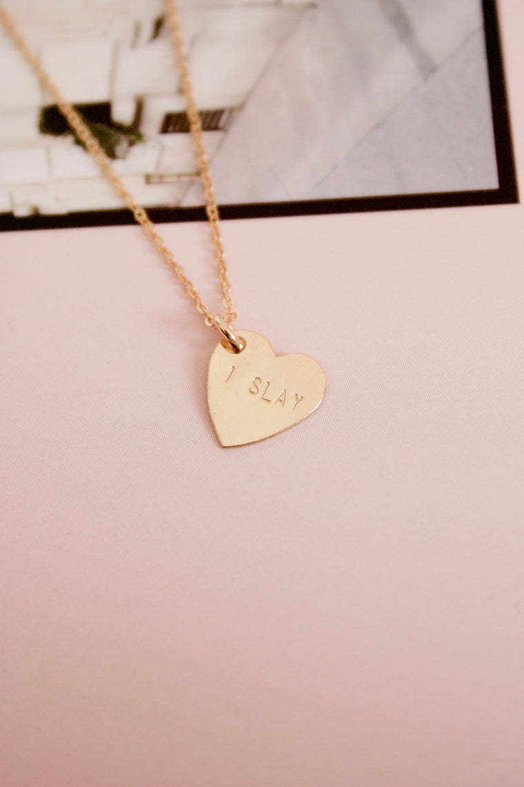 I Slay Mini Heart Charm Necklace