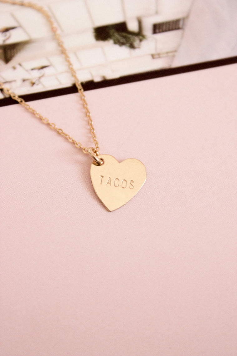 Tacos Mini Heart Charm Necklace