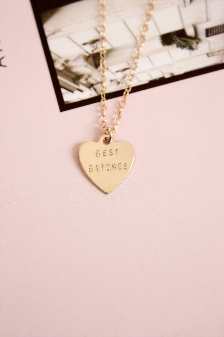 Best Bitches Heart Charm Necklace