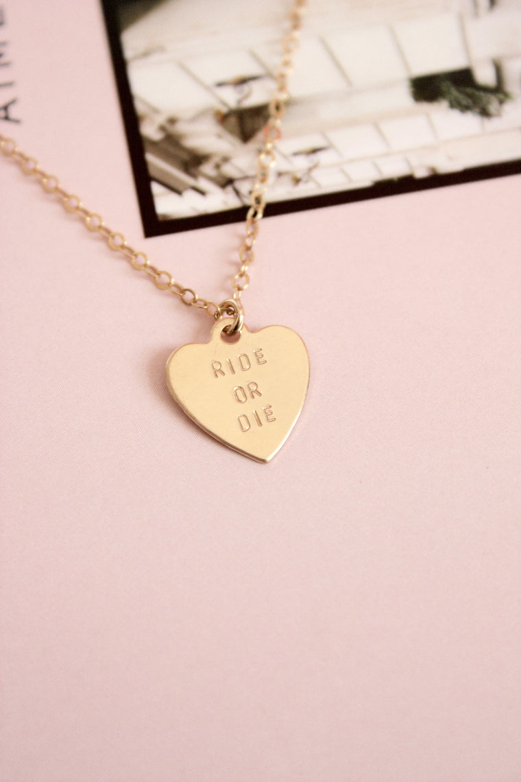 Ride or Die Heart Charm Necklace