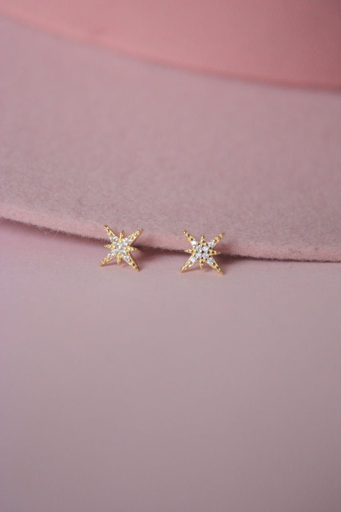 Sterling Starburst Stud Earrings