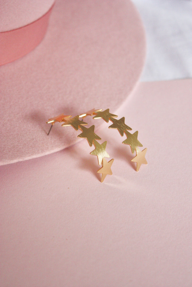 Curved Star Stack Earring