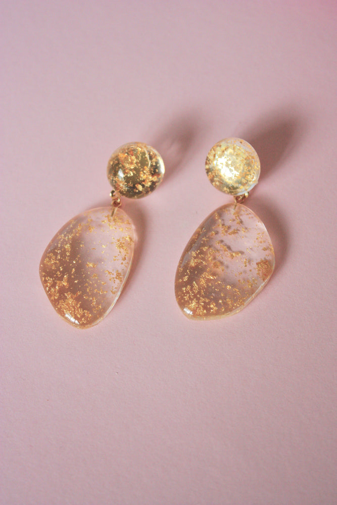 Gold Lucite Bauble Earring